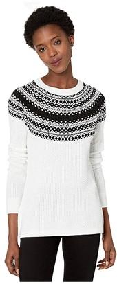 Calvin Klein Fair Isle Crew Neck Sweater (Winter White/Black) Women's Clothing