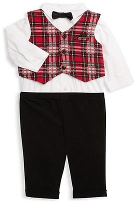 Little Me Baby Boy's 3-Piece Shirt Bodysuit, Vest Pants Set