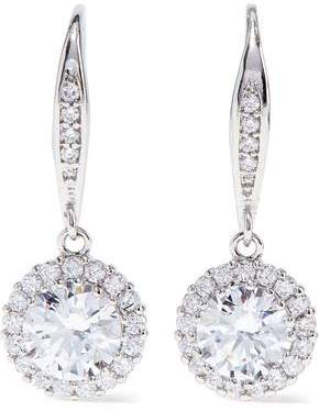 Kenneth Jay Lane Cz By Rhodium-plated Crystal Earrings