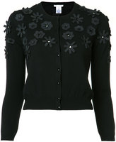 Oscar de la Renta cut-out flower embroidered cardigan - women - Merino - XS