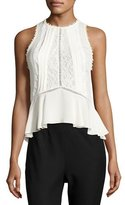Rebecca Taylor Sleeveless Georgette & Lace Top, Chalk