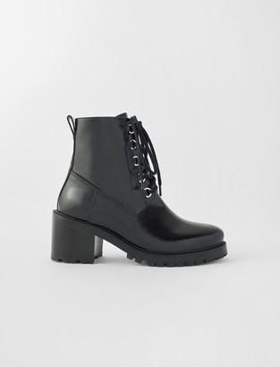 Maje Black leather heeled boots