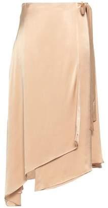 Les Héroïnes Crepe-satin Midi Wrap Skirt