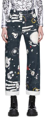 Charles Jeffrey Loverboy Navy Denim Asteroids Art Jeans