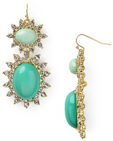 Aqua Cabachon Drop Earrings