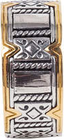 Konstantino 18K Gold/Silver Carved Ring, Size 10