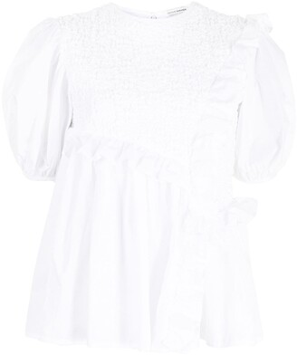 Cecilie Bahnsen Carlotta smocked ruffle-trimmed blouse