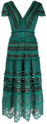 Tadashi Shoji Nisa lace-and-fringe midi dress