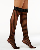 Hue Women's Dot and Stripe Over-The-Knee Socks