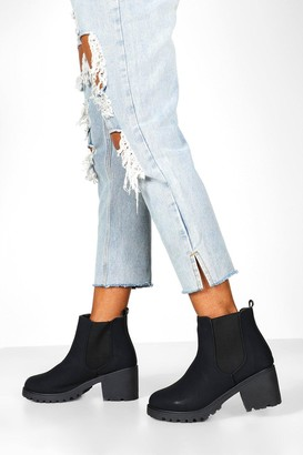 boohoo Wide Fit Chunky Elastic Chelsea Boots