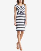 Lauren Ralph Lauren Petite Striped Cowl Neck Dress
