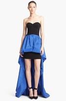 Michael Kors Strapless High/Low Peplum Gown