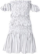 Pinko stripe cold shoulder tiered dress