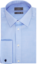 John Lewis Non Iron Twill Double Cuff Tailored Fit Shirt, Blue