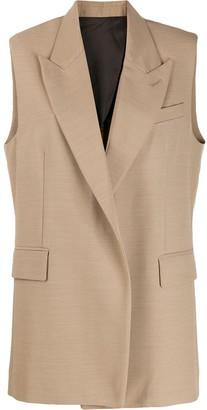 Ami Paris Half-Lined Sleeveless Long Jacket