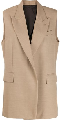 Ami Half-Lined Sleeveless Long Jacket
