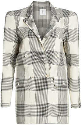 TRE by Natalie Ratabesi Strong Shoulder Plaid Blazer