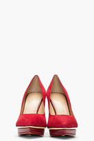 Charlotte Olympia Maroon suede Low Island Platform pumps