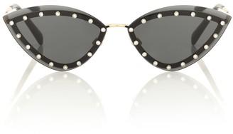 Valentino Embellished triangular sunglasses