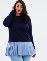 2-in-1 Jumper with Pleated Denim Hem