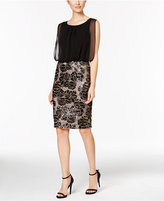 Calvin Klein Chiffon Sequined Blouson Dress