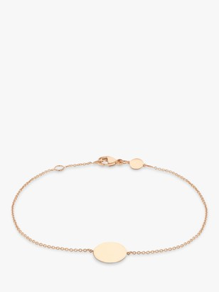 IBB Personalised 9ct Rose Gold Disc Initial Chain Bracelet