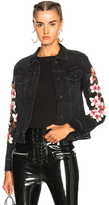 Off-White Cherry Blossom Diagonal Denim Jacket in Black,Floral.
