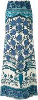 Roberto Cavalli carnation print maxi skirt