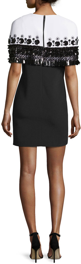 Andrew Gn Embroidered Capelet Cocktail Dress, White/Black