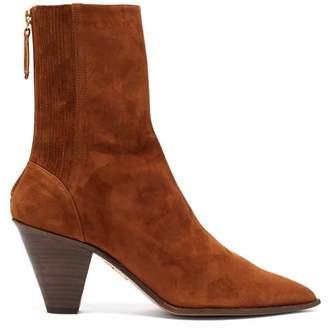 Aquazzura Saint Honore 70 Pointed-toe Suede Boots - Womens - Tan