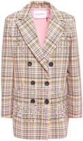 Carolina Herrera Double-breasted Embellished Checked Woven Cotton Blazer