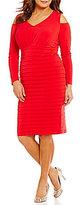 London Times Plus Cold-Shoulder Solid Matte Jersey Dress