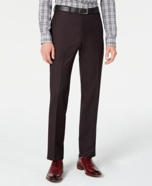 DKNY Men's Modern-Fit Stretch Burgundy Birdseye Suit Pants