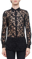 Saint Laurent Sheer Embroidered-Lace Long-Sleeve Shirt, Black