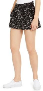 BeBop Juniors' Floral-Printed Smocked-Waist Shorts