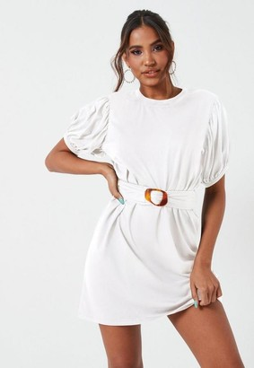 Missguided Tortoise Shell Belted Puff Sleeve Oversized Mini Dress