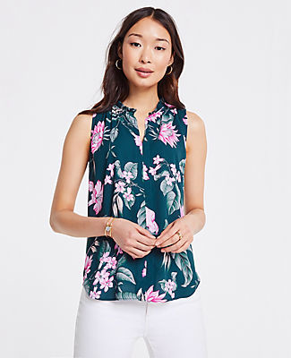 Ann Taylor Fauna Floral Pleat Neck Shell