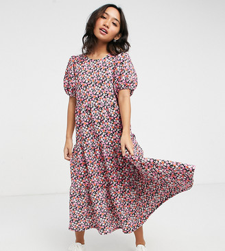 ASOS DESIGN Petite midi tiered smock dress in pink floral print