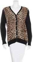 Equipment Leopard-Print Wool Cardigan