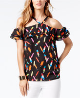 INC International Concepts Petite Popsicle Print Cold-Shoulder Top, Created for Macy's