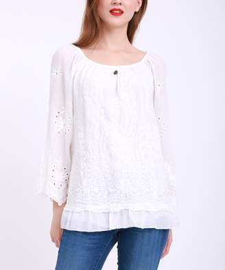 Couture Simply Women's Blouses WHITE - White Eyelet-Accent Ruffle-Hem Scoop Neck Top - Women & Plus