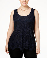 INC International Concepts Plus Size Lace-Front Tank Top, Only at Macy's