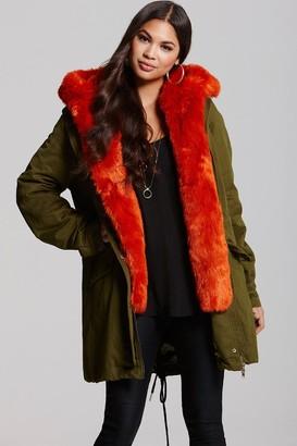 Little Mistress Khaki and Orange Trench Coat
