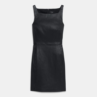 Theory Square Neck Dress in Leather