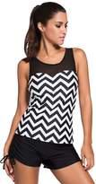 Cfanny Women's Sleeveless O Neck Print Mesh Splice Swimwear Tankini Top