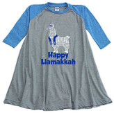 Urban Smalls Heather Blue & Gray 'Llamakkah' Raglan Dress - Toddler & Girls