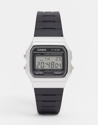 Casio F91WM-7A unisex digital silicone strap watch in black/silver