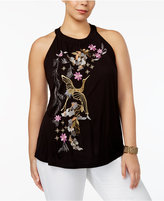 INC International Concepts Plus Size Embroidered Halter Top, Created for Macy's