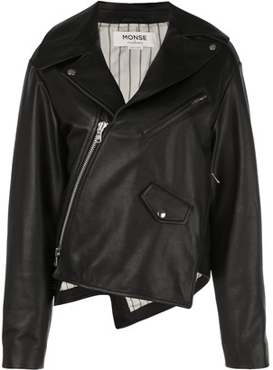 Monse Twisted Leather Biker Jacket