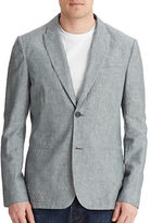 John Varvatos Textured Jacket with Peaked Lapel